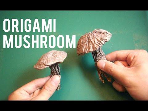 How to fold an easy origami mushroom