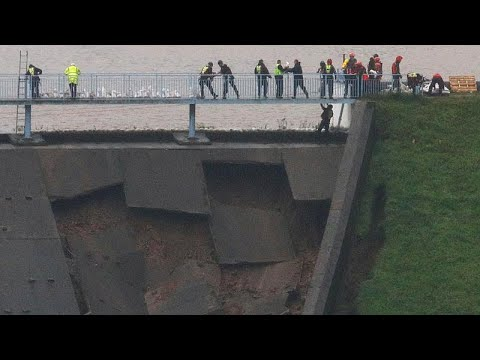 A damaged dam has forced the evacuation of an entire town in England