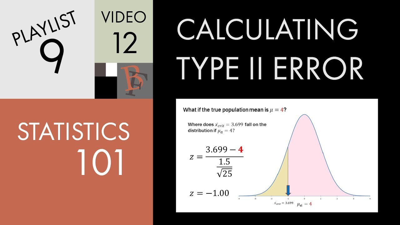 statistics 101 calculating type ii error concept with example