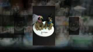 Pug Dogs Wedding Cake Topper