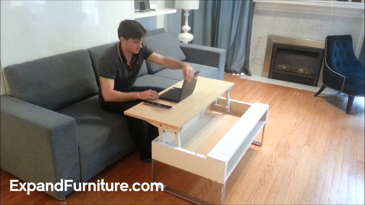 Ultra Convenient Lifting Coffee Table Raises To Your Lap