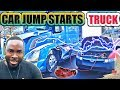 How To Jump Start Semi Truck With A Car | Car vs Truck. VLOG #52