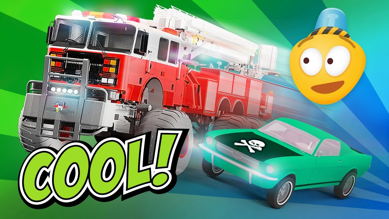 fire brigade 39 s monster trucks police car chase cartoon. Black Bedroom Furniture Sets. Home Design Ideas