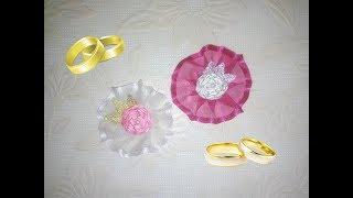 Бутоньерка для гостей на свадьбу, брошь канзаши из лент, мастер класс / Boutonniere for wedding
