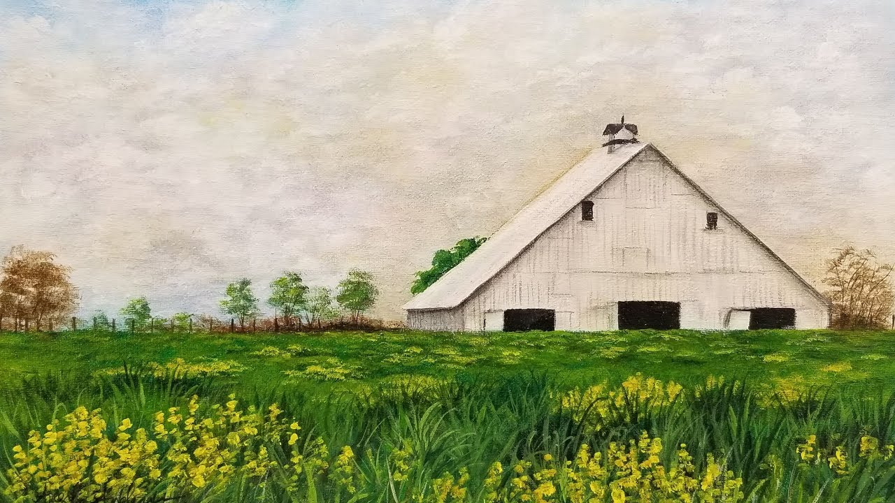 White Barn Landscape Acrylic Painting Live Tutorial Youtube