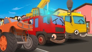 Wheels On The Bus (Trucks) Song | Nursery Rhymes And Kids Songs | Gecko's Garage | Trucks For Kids