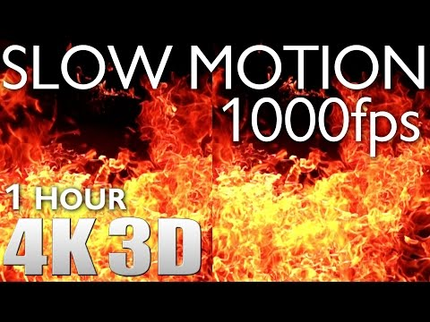 VR 3D - Slow Motion 1000fps #3 Fire - 1 HOUR RELAXATION Nature Sounds 4K
