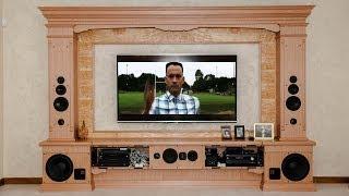 Домашний кинотеатр в доме. Телевизор в интерьере.(Делаем красивые домашние кинотеатры в стиле интерьера. Звук на базе немецких комплектующих. Мебель, акусти..., 2014-04-28T12:36:45.000Z)