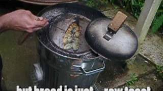 Cooking Naan Bread In A Homemade Trash Can Wood Fired Tandoor Oven ( Tandoori )