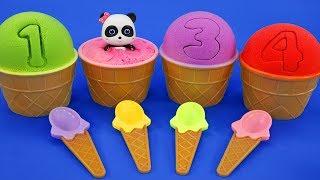 4個顏色的彩色冰淇淋 | 寶寶玩具 | 兒童玩具 | 玩具巴士 | 學顏色