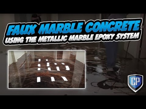Faux Marble Concrete Using The Metallic Marble Epoxy