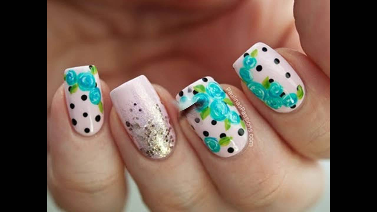 Diseños De Uñas Decoradas Con Flores Sencillas Youtube