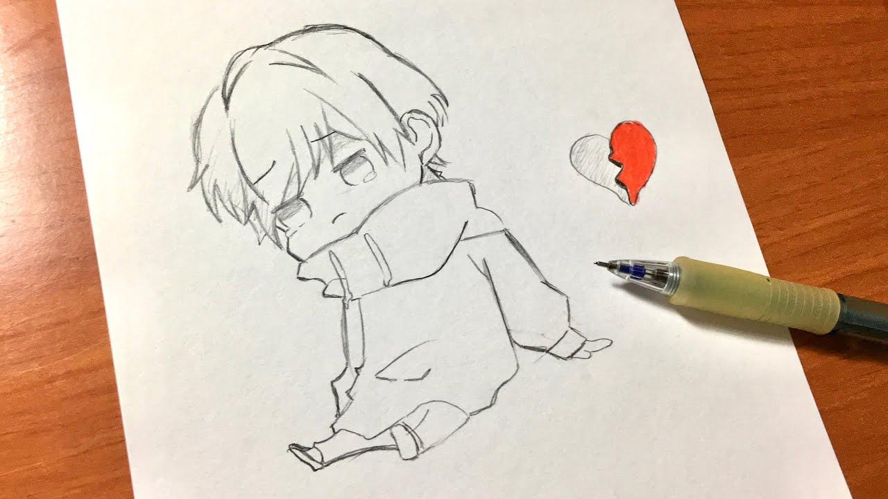رسم كيووت تعلم رسم أنمي كيوت و حزين Youtube