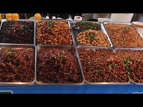 Taste Test of all the Bugs at a Thailand Market. Taste Testing Thai Snacks & Street Food