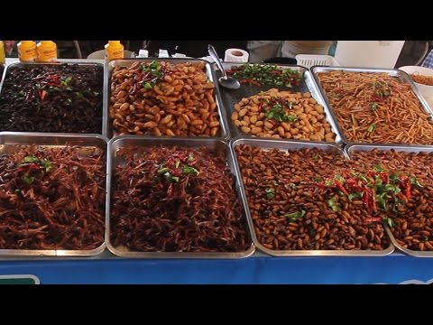Taste Test of all the Bugs at a Thailand Market. Taste Testing Thai Snacks & Street Food