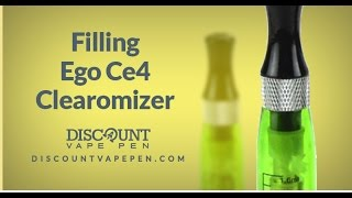 how to vape filling your ego ce4 clearomizer with e liquid