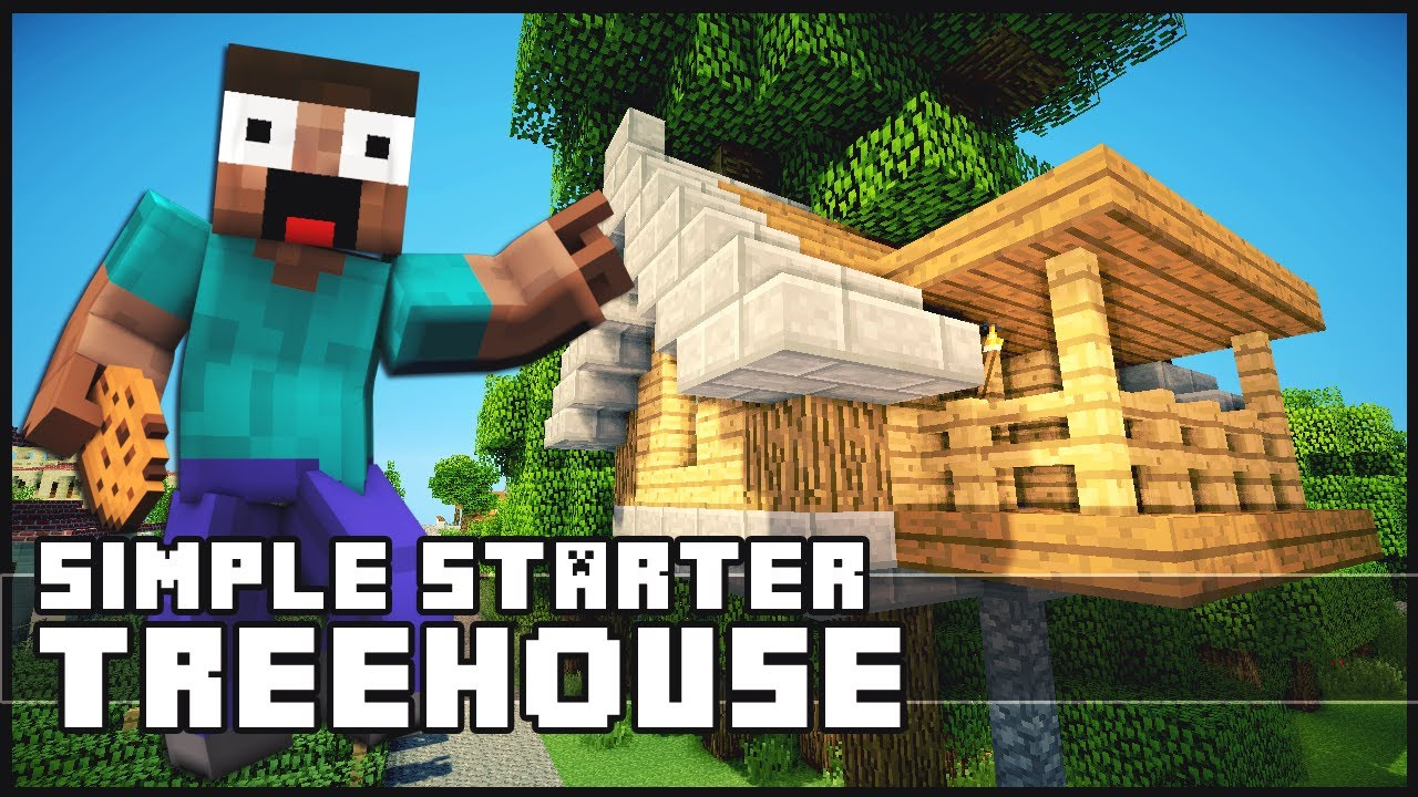 Minecraft how to build a simple starter treehouse for Easy to build tree houses