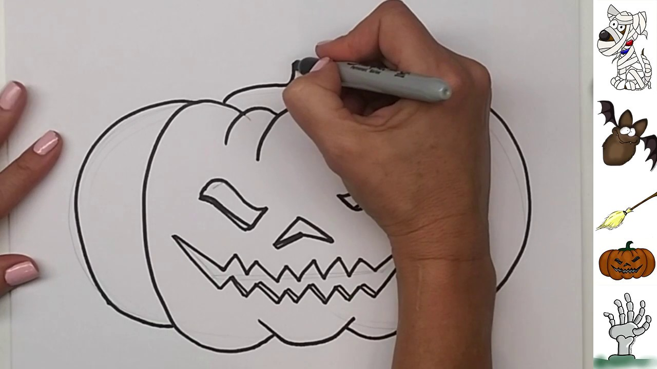 how to draw a halloween pumpkin jack o lantern step by step with