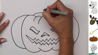 How to Draw a Halloween Pumpkin Jack-o-Lantern Step by Step with free Coloring Page