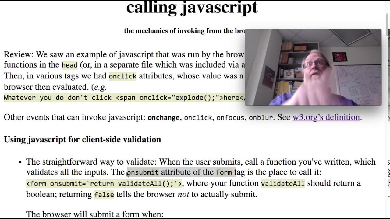 ITEC325 js-events -- calling javascript