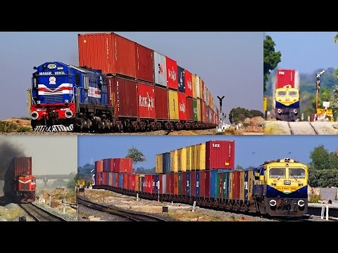 DOUBLE-STACK RAIL TRANSPORT INDIAN RAILWAYS : COMPILATION OF COLOURFUL DOUBLE STACKS