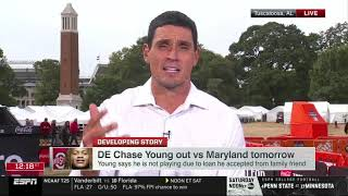 David Pollack reacts to Chase Young out vs Maryland, LSU vs Alabama