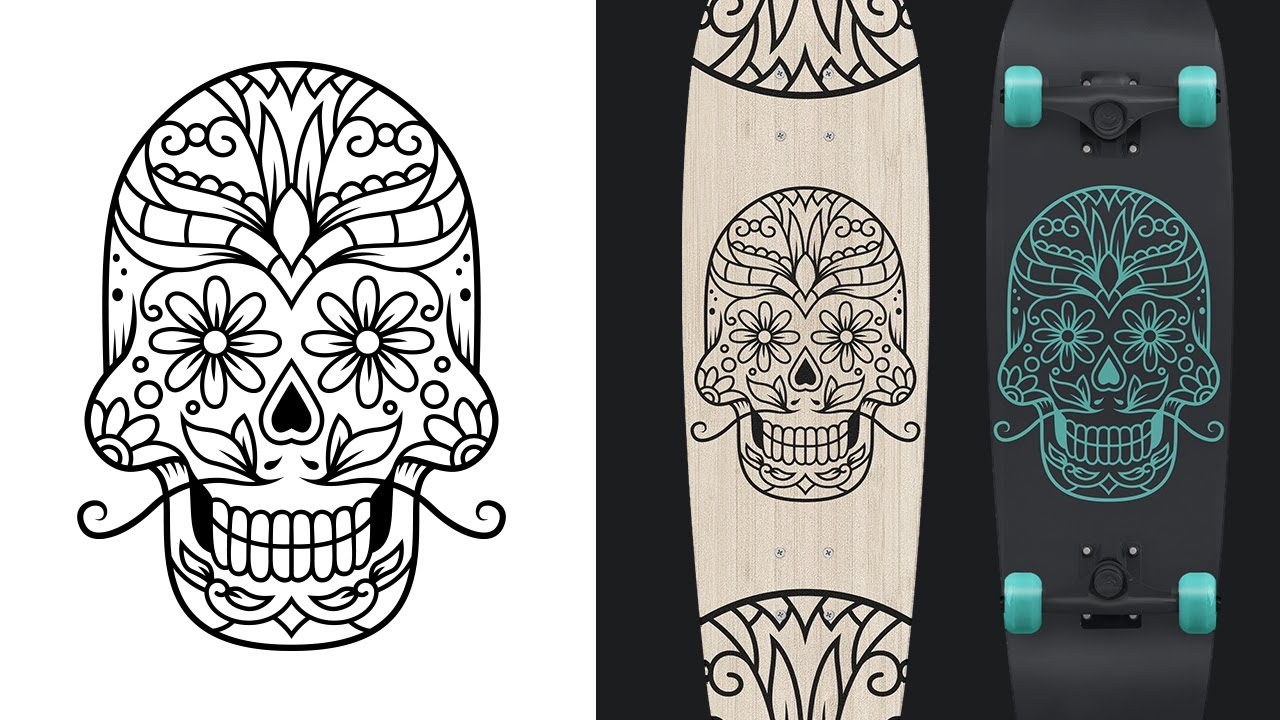 sugar skull design from sketch to vector youtube