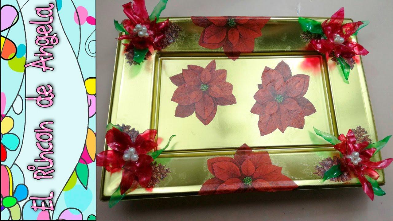 Diy como decorar una bandeja con decoupage y flores de for Bandejas de navidad