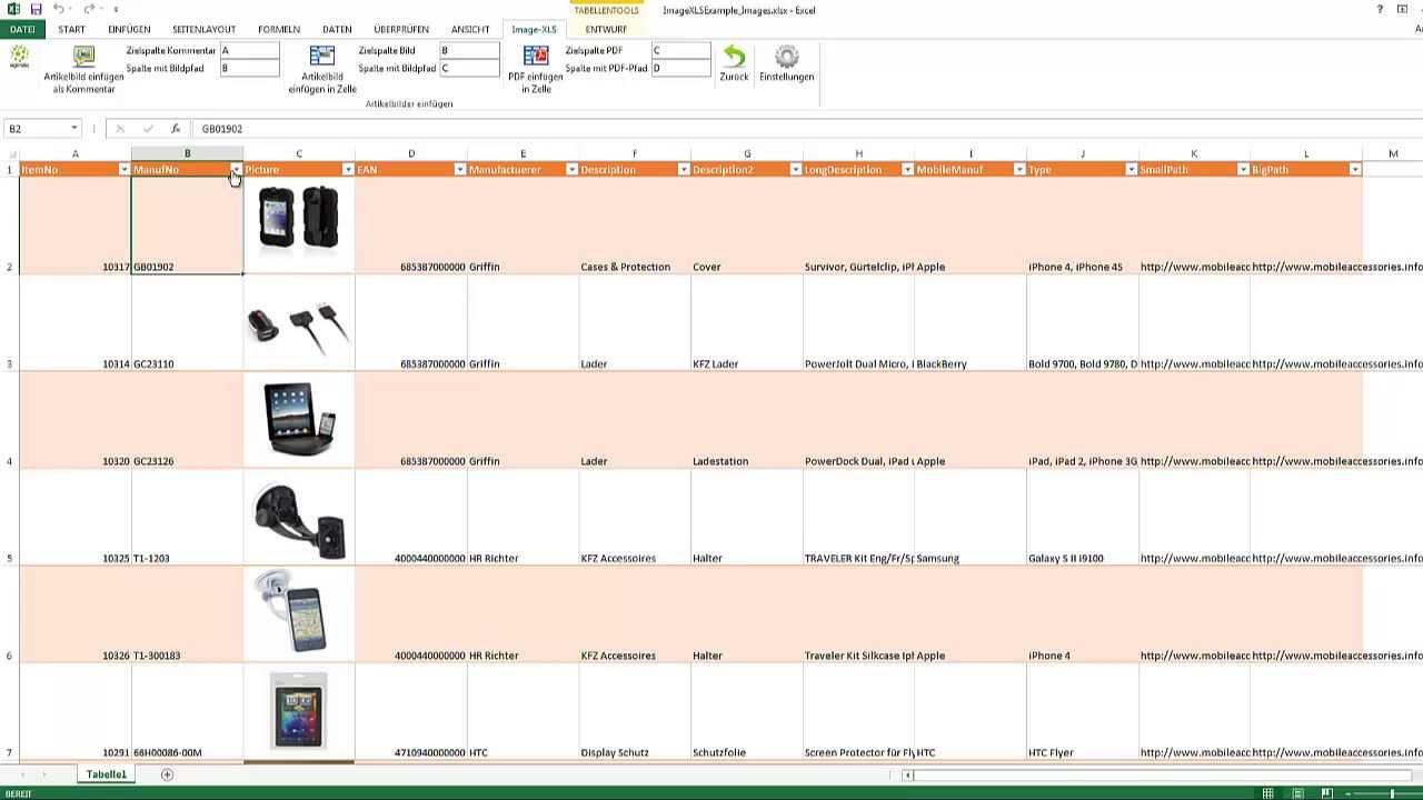 ImageXLS eingefügte Excel Bilder mit Sortierung, Excel