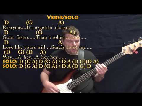 Everyday (Buddy Holly) Bass Guitar Cover Lesson in D with Chords/Lyrics