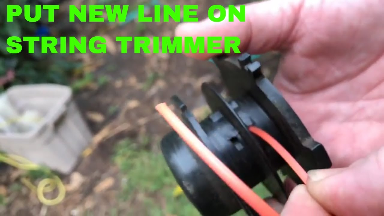 Restring a 2 sided spool on a string trimmer weed eater EASY!!