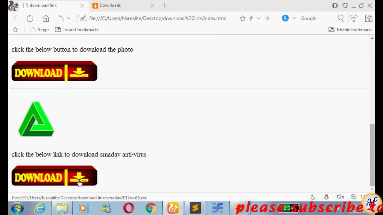 How to create download link with icon for videos,images, application with  HTML5