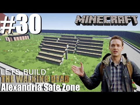 Minecraft | Lets Build The Walking Dead | Alexandria Safe Zone | Solar panels | #30