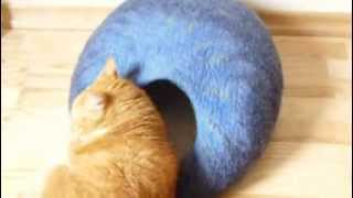 Felted Cat Cave - Blue