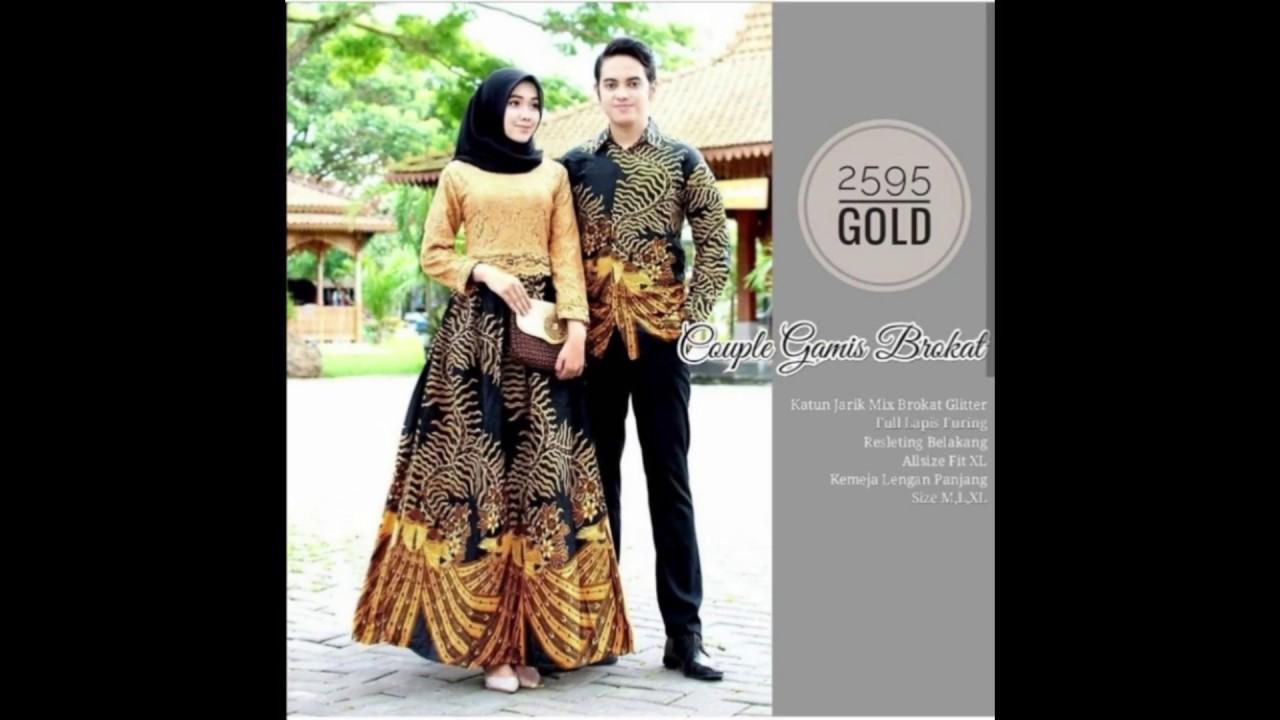 Koleksi Model baju batik couple gamis brokat kombinasi terbaru