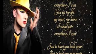 Boy George +  Everything I Own +  Lyrics / HQ