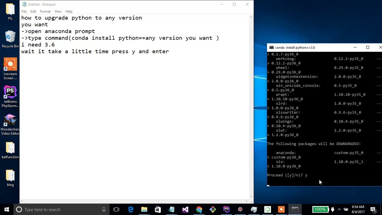 how to update python version on anaconda