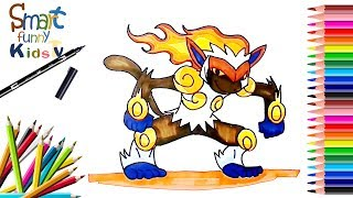 How to Draw Infernape | Pokemon | Painting | Coloring | SFK tv | channel  kids tv