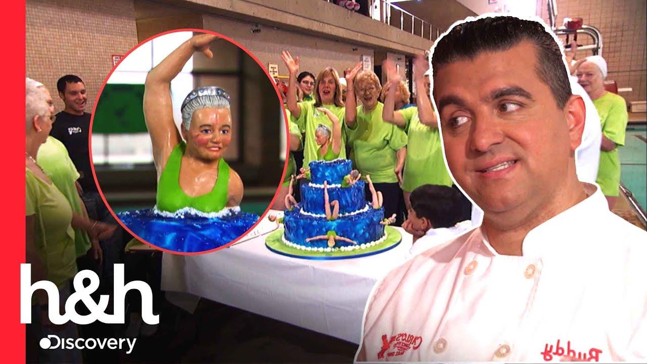 Download Buddy se esmera en pastel para campeonas mundiales de nado sincronizado | Cake Boss | Discovery H&H