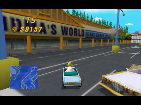 The Simpsons Road Rage (Gamecube) Entertainment District Gameplay