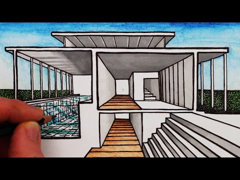 How to Draw a House in 1-Point Perspective: Sectional Perspective