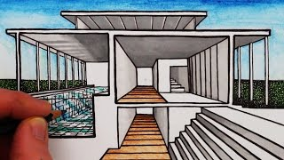 Learn How to Draw a House in 1-Point Sectional Perspective in this ...