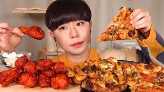 SUB)도미노 블랙타이거슈림프 피자와 교촌 레드콤보 치…