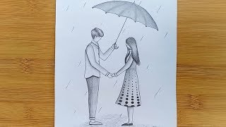 How to draw Romantic Couple with pencil sketch step by step