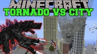 MOBZILLA & TORNADO MOD VS NEW YORK CITY - Minecraft Mods Vs Maps (Bosses, Deadly Weather)