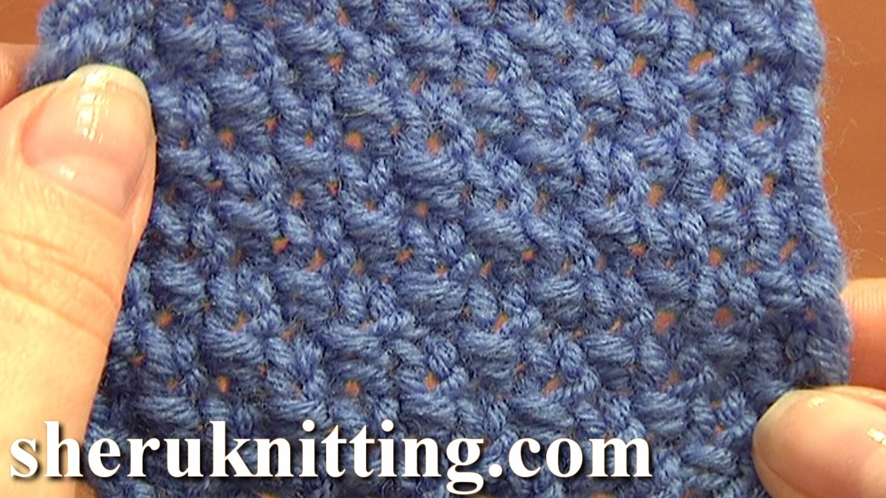 Moss Stitch Scarf Knitting Pattern : Knitting Stitch Patterns For Beginners Tutorial 5 Double Seed Stitch Double M...