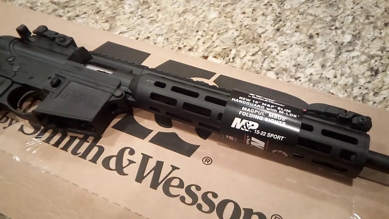 Smith And Wesson 12039 Unboxing: SMITH AND WESSON M&P 15-22 SPORT BLACK .22 LR UNBOXING