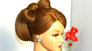 Прическа: Бабетта с бантом из волос для  средних волос