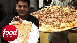Adam Battles To Finish 30' Big Pie In The Sky Pizza Challenge | Man v Food