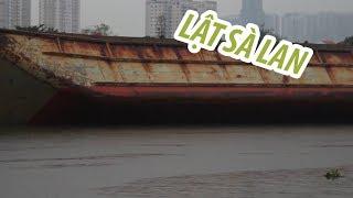 Sà lan lật úp trên sông Sài Gòn, chủ phương tiện tự kéo về sửa